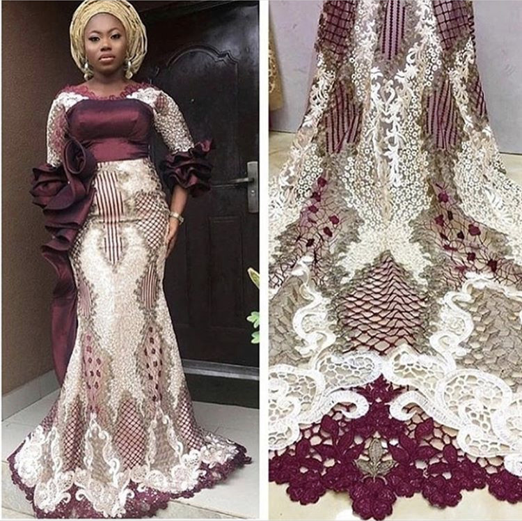 2019 High Quality Nigerian Lace Fabrics African French Net Lace Fabric Embroidered Tulle Mesh Lace Fabric-in Lace from Home & Garden    1