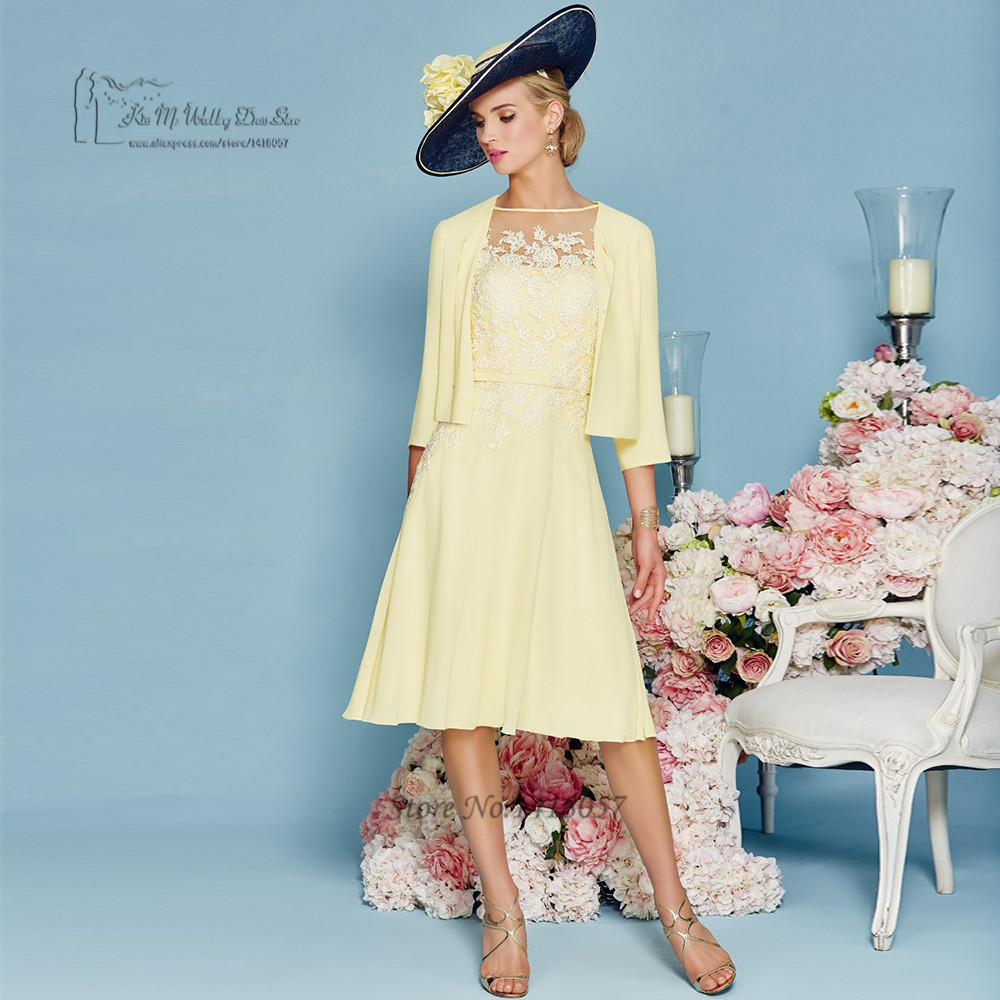 Brides Mother Dresses for Weddings Knee Length Yellow Groom Evening ...
