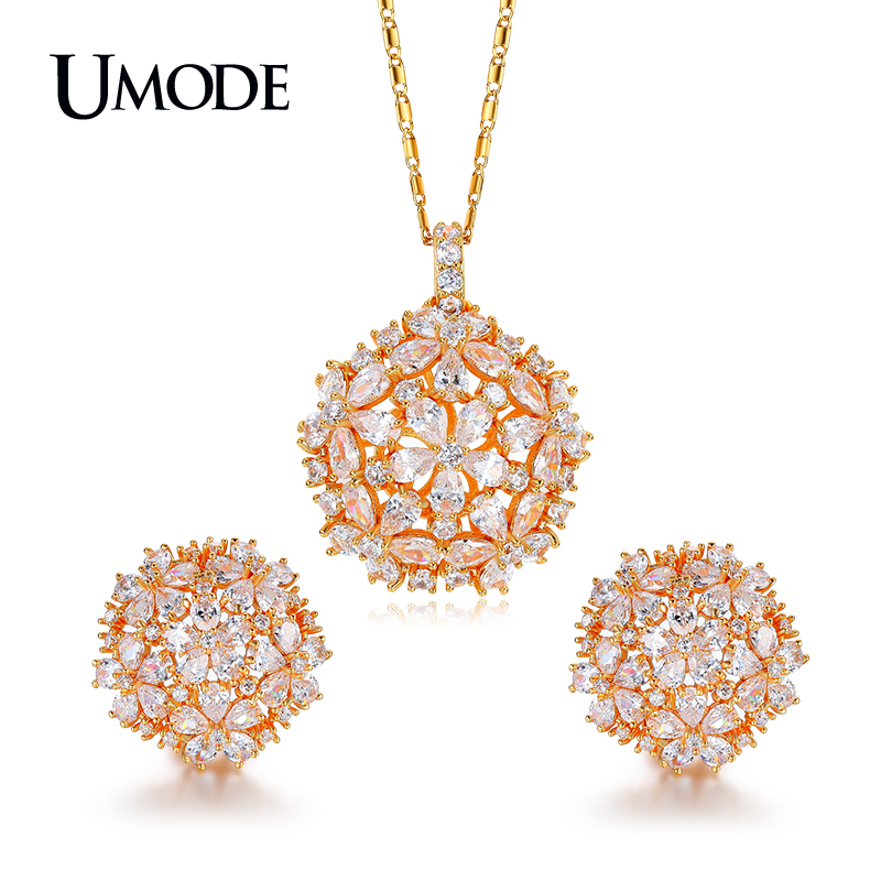 UMODE Brand Cluster Flower Design AAA+ CZ Wedding Jewelry Sets For Women Gold Color Necklaces Pendant Stud Earrings Gift US0038A