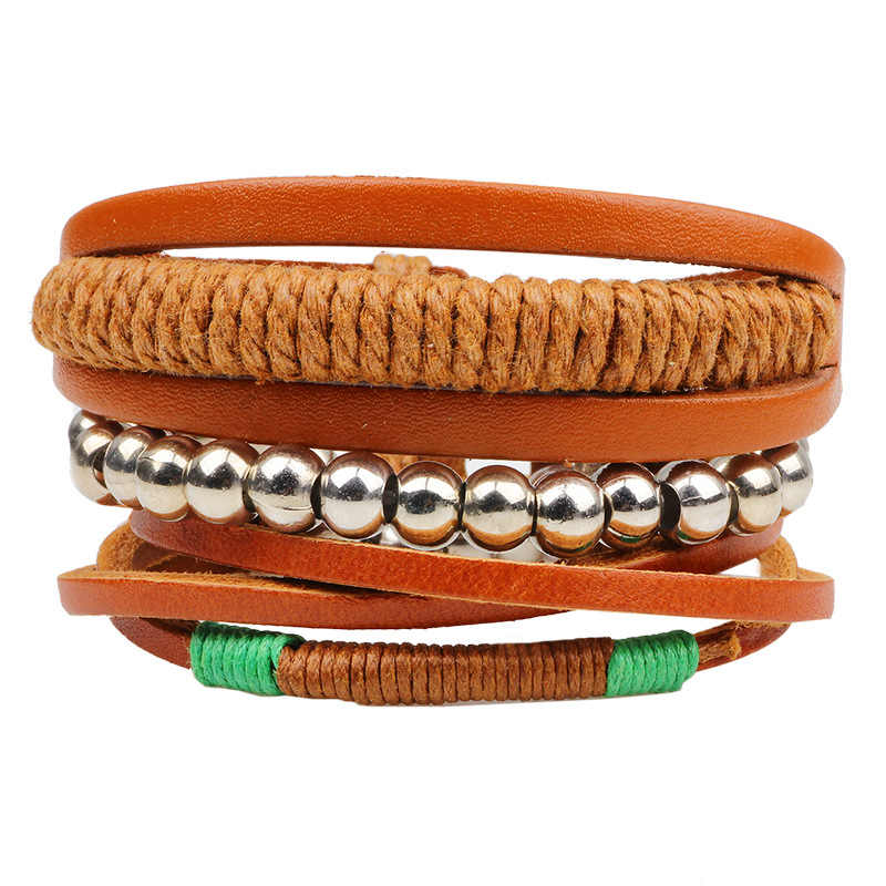 Fashion Jewelry 3PCS/Set Beaded Multilayer Handmade Hemp Rope Woven Leather Bracelets Hippy Friendship Bracelets