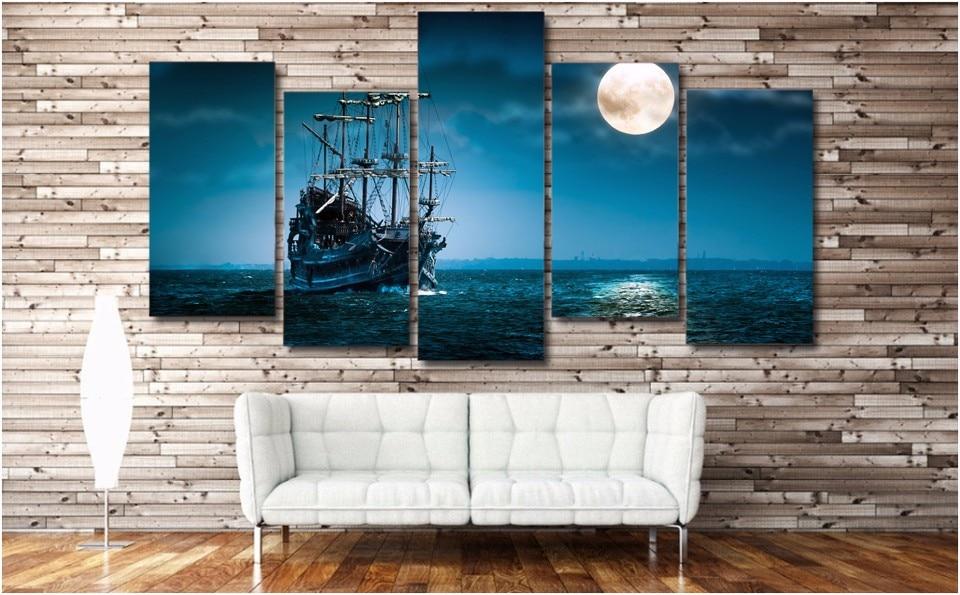 5 unids/set enmarcado HD impreso fantasía Luna arte barco océano mar ...