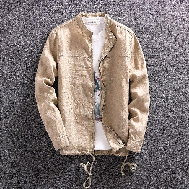 best service 5ba02 59e11 Sommer Jacke Männer Casual Slim Fit Leinen Jacke Dünne Marke Berühmte  Kleidung Armee Grün Chinesischen Mantel Plus Größe