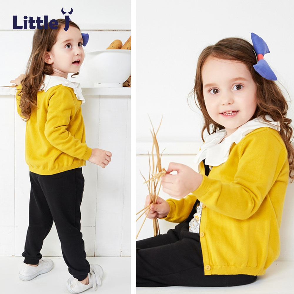 Little J Girls Yellow Knitted Cardigan Sweater Casual O
