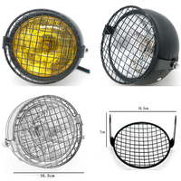 Motorcycle Grill Headlight Retro Black Motorbike Net Headlamp DC 12V Motor Round Front Light Universal Moto Scooter 35W Lamps| |   -