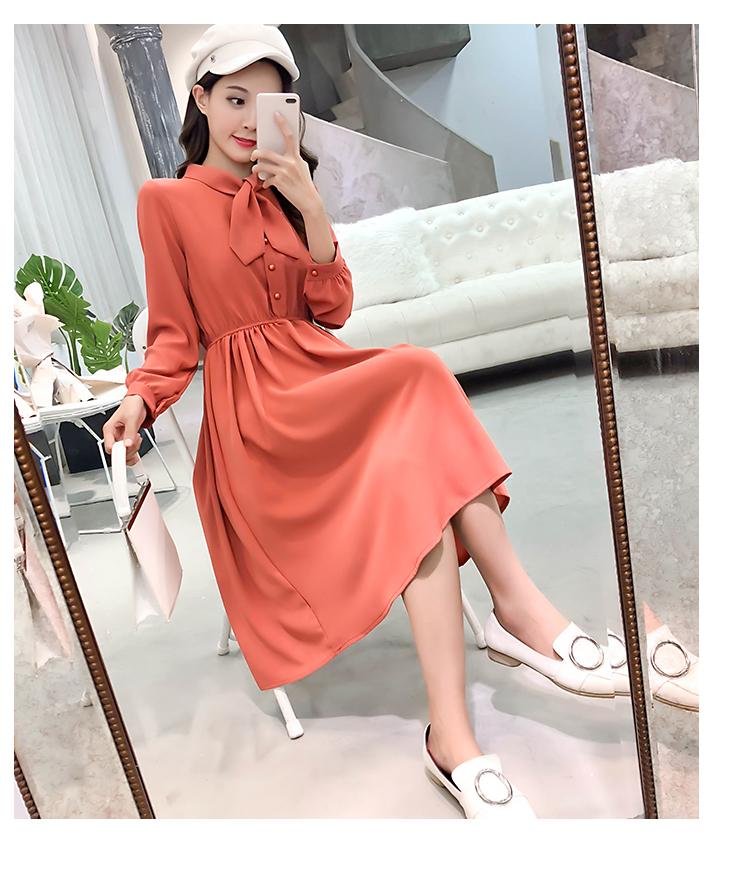 fashion bow collar women dresses party night club dress 2019 new spring long sleeve solid chiffon dress women clothing B101 27