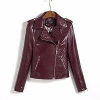 2017 New faux donne giacca di pelle cappotto di pelle moto zipper vino rosso del bicchierino di modo classico fresco tuta sportiva