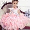 Flores vestidos del bebé, cordón de la muchacha vestido de Fiesta rosa traje de Cumpleaños de La Boda, aclaramiento ropa princess tutu vestido de la muchacha elegante