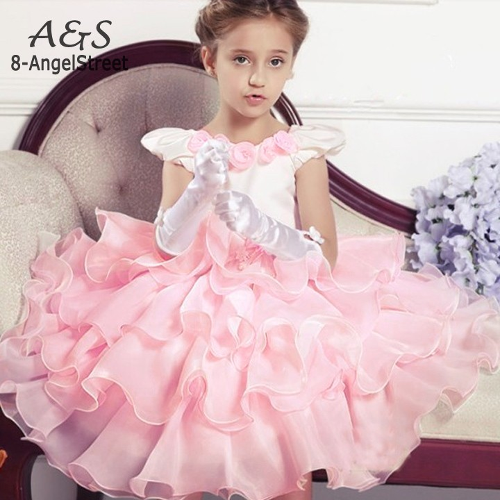 Flowers baby dresses,girl lace rose Party dress suit for Wedding Birthday ,princess tutu dress elegant girl clothing clearance
