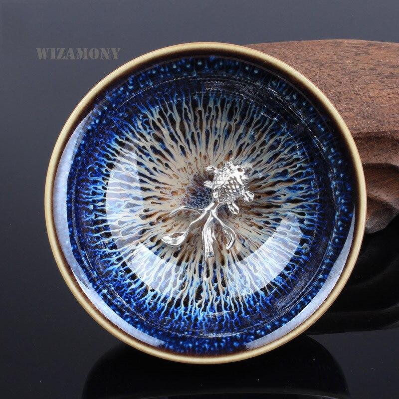 Čínský porcelán Gaiwan Čína Jingdezhen porcelánová mísa 45ml 925 jemná stříbrná čajová konvice Master Dragon Teacup čajová sada dárkový balíček