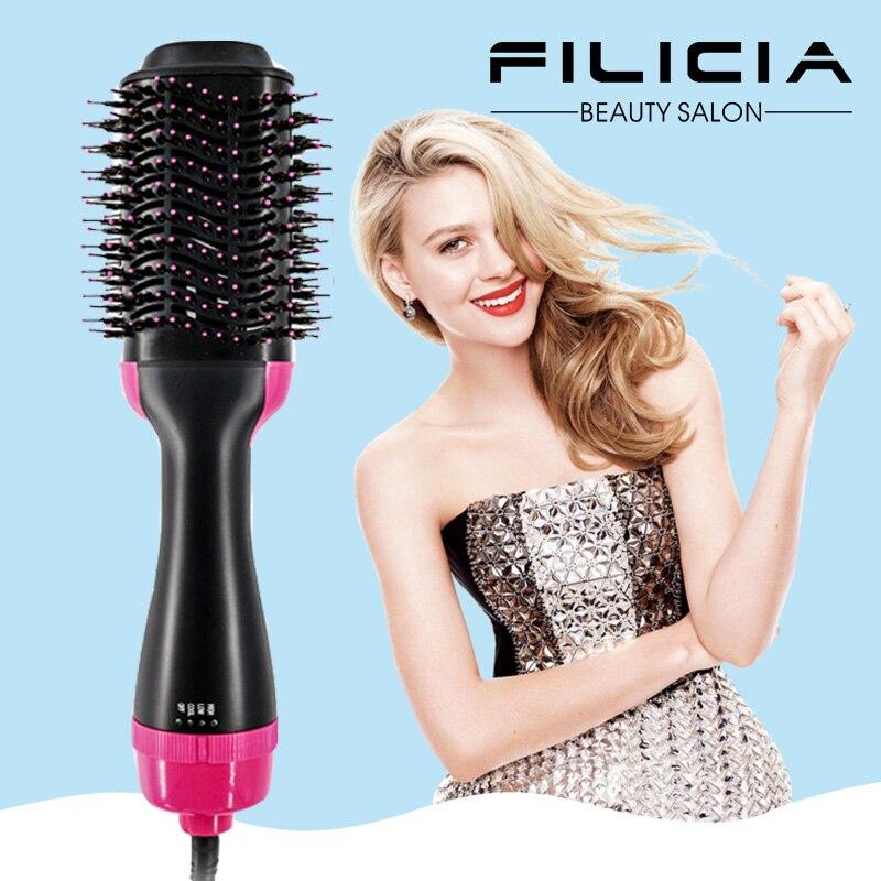 2 dans 1 Multifonctionnel sèche-cheveux et Volumateur Rotation Cheveux brosse rouleau Rotation Styler Peigne Styling Défrisage fer à friser