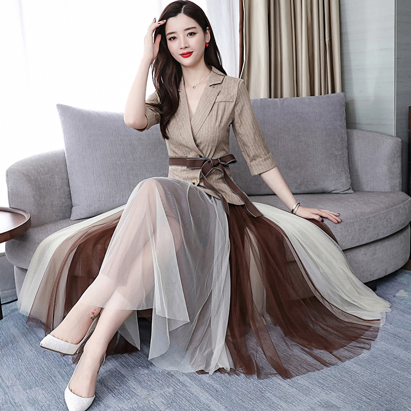 2019 Two Piece Sets Outfits Women Office Suit With Belt And Pleated Skirt Suits Vintage Korean Ladies 2 Piece Sets Femme 34