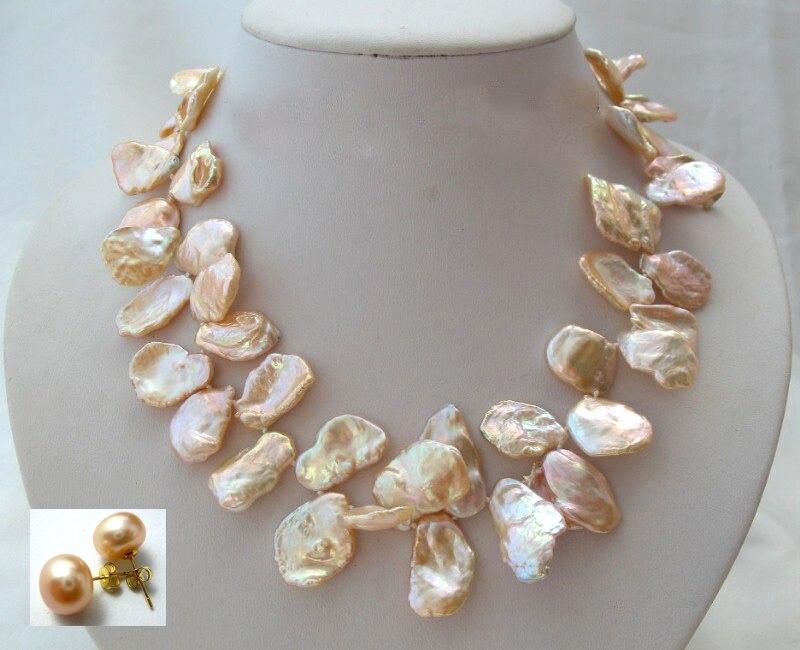 Nouveau super grand 18mm baroque papillon blanc keshi reborn perle collier boucle d'oreille-