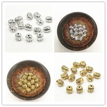 Wholesale 10pcs/lot 10x9mm Gold Silver Plated Alloy Buddha head Spacer Beads For Jewelry Making DIY Bracelet