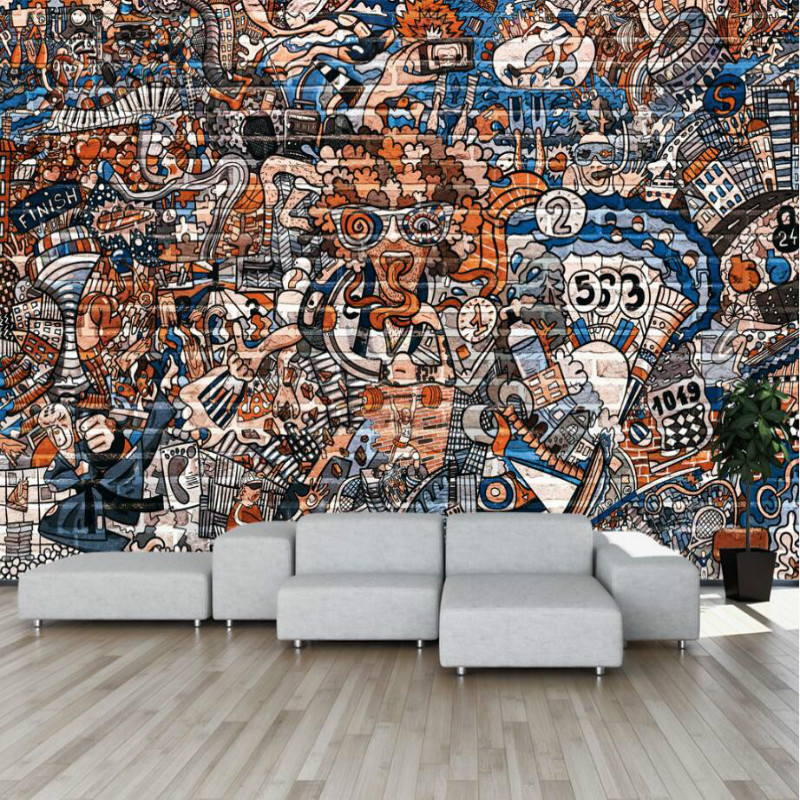 Creative street graffiti Wallpaper for Bar KTV backdrop Walls 3d Wall Paper TV Background Painting Mural Wallpapers decorate купить в Москве 2019