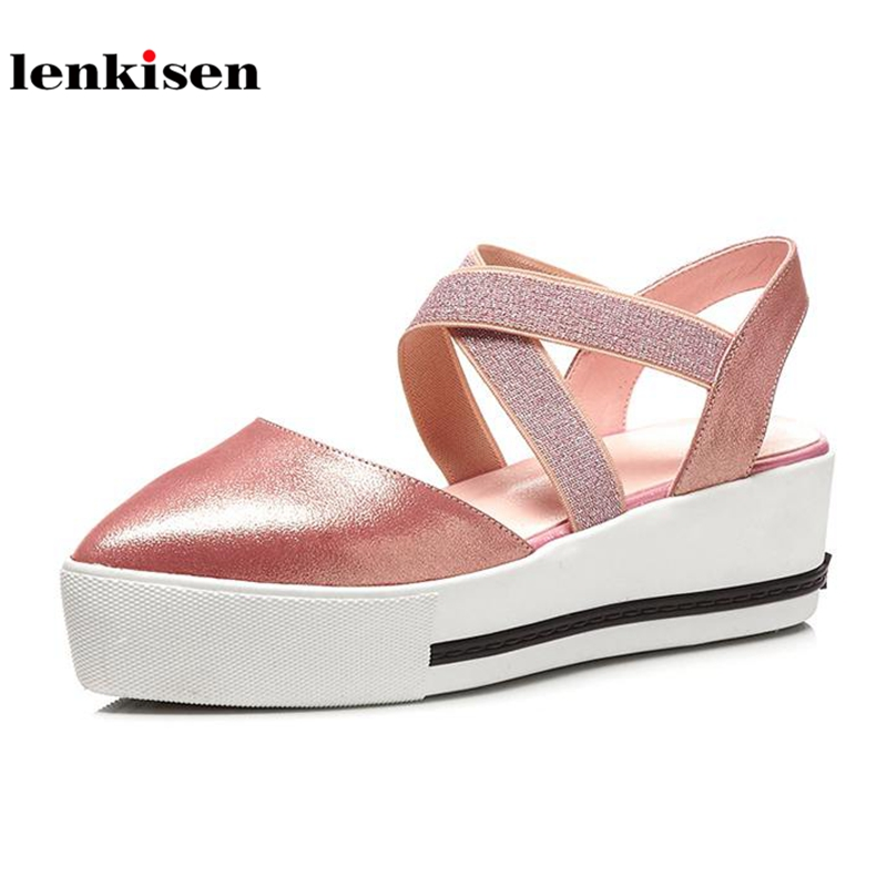 Lenkisen sheep leather pointed toe wedges summer shoes gladiator cross tied elastic band straw platform sweet women sandals L47 lenkisen genuine leather big size wedges summer shoes gladiator super high heels straw platform sweet style women sandals l45