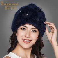 Charles Perra Brand Women Knitted Hat Double Layer Winter Beanies Plus Velvet Pure Hand Woven Warm Rabbit Hair Knitting Cap 9701