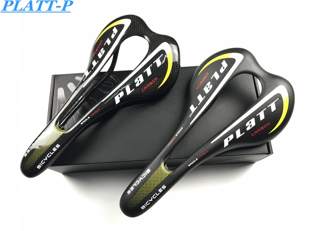 PLATT 3K Total Carbon Fiber Ultralight Saddle MTB Mountain Road Bicycle Seat Bicycle Saddle Shiny Carbon Chair Seat Cycling 120g no logo bicycle seat posts carbon road mtb 3k gloss matte offset seat post 25 4 27 2 30 8 31 6 ultra light bicycle seatpost