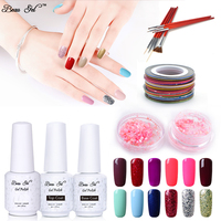 Beau Gel 8ml Gorgeous Color Gel Lacquer Nail Polish Soak Off Led UV Gel Lacquer Striping Tape Nail Brushes Nail Art Tools