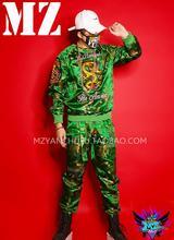 НОВЫЙ ночной клуб моды Зеленый вышивка дракон халат костюмы Мужчин певцов dj сценический костюм платье в китайском стиле костюм наборы! S-5XL