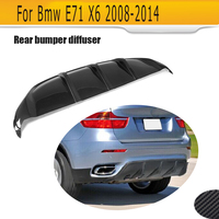 carbon fiber Car Rear Bumper Extension Lip Spoiler Diffuser for BMW X6 E71 E72 2008 2014 xDrive 35i 50i Black FRP