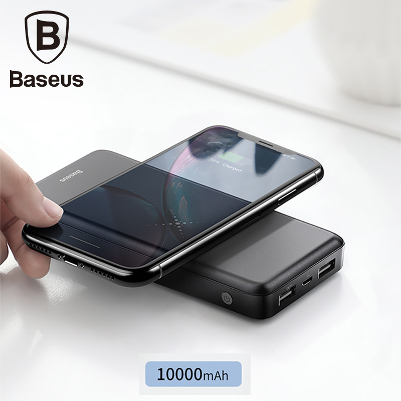Baseus Qi Wireless Charger 10000mAh Power Bank For iPhone Mobile Phone Charger 5V/2.1A Dual Usb Powerbank For Xiaomi mi 9 iPhone usb battery bank charger