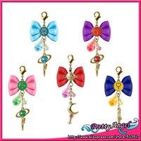 PrettyAngel Original Bandai Shokugan Sailor Moon Butterfly Ribbon Charm Key Chain Set of 5 PCS