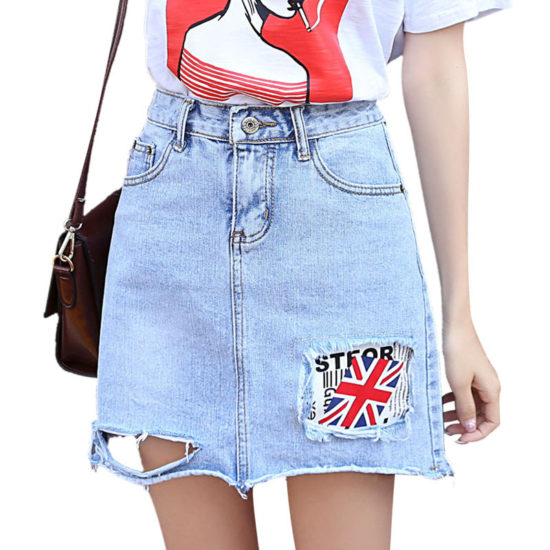 Ejqyhqr New Fashion Summer Style Denim Skirts Women High Waist A-line Skirt Hole Patchwork the Union Jack Letter Female
