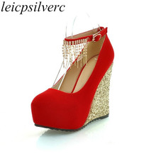 Women Pumps Shoes High Heels Sexy New Fashion Wedges Platform Buckle 2017 Spring Autumn Flcok Party Wedding Shoes Red Black Blue diamond wedges red women wedding shoes high heels sexy lady rhinestones buckle women pumps plus size 43