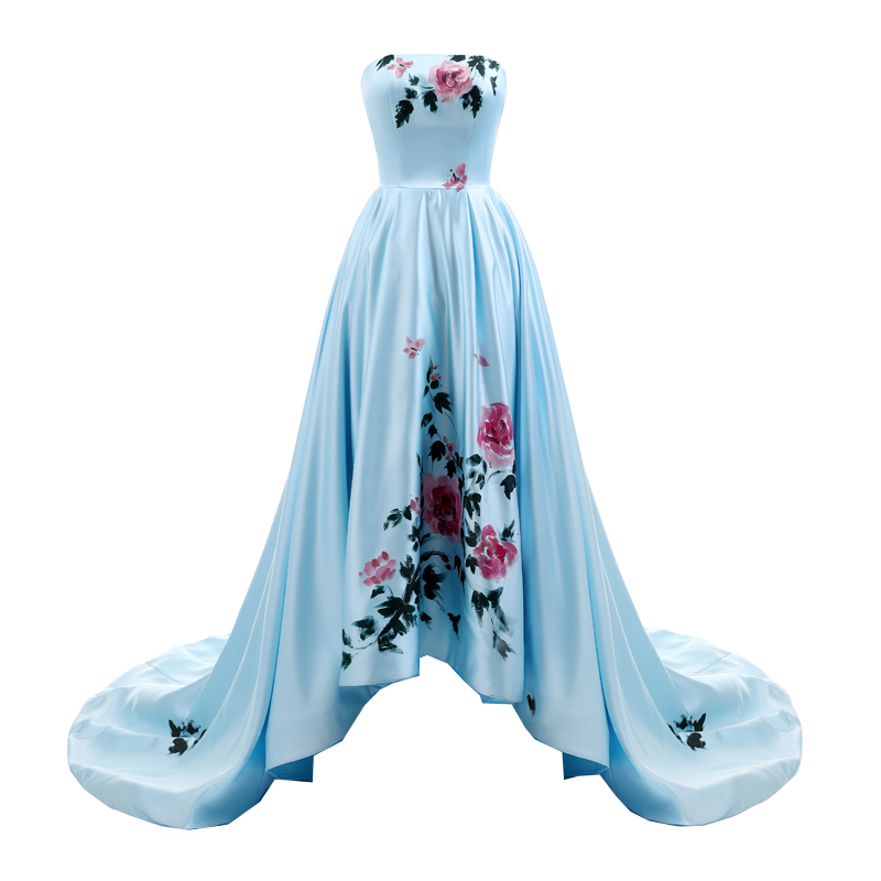 Sunvary 2018 New Sweetheart Hand Drawing Prom Dress Long High Low - Հատուկ առիթի զգեստներ - Լուսանկար 2