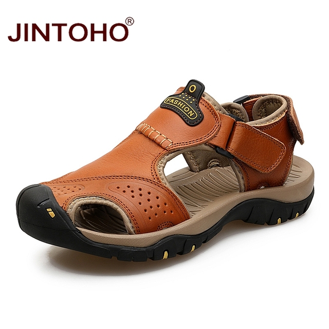 JINTOHO Yaz Erkek Sandalet Moda Erkek Deri Sandalet Erkekler Hakiki Deri Sandalet Yaz Plaj deri ayakkabı