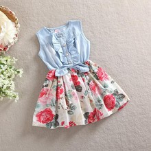 Baby girl denim dress 2017 children sleeveless christmas girls dresses summer style kids princess flower dress