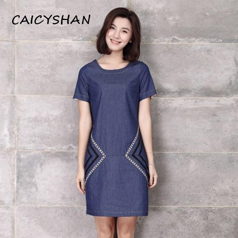 Nový letní styl ženy šaty vestido plus velikost ležérní volná hůl stuha tenké džíny šaty pro ženy velké velikosti džínové jednodílné
