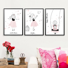 Swing Princess Little Girl Canvas Paintings Wall Art Pictures Birthday Gift Poster and Print for Bedroom Home Decor