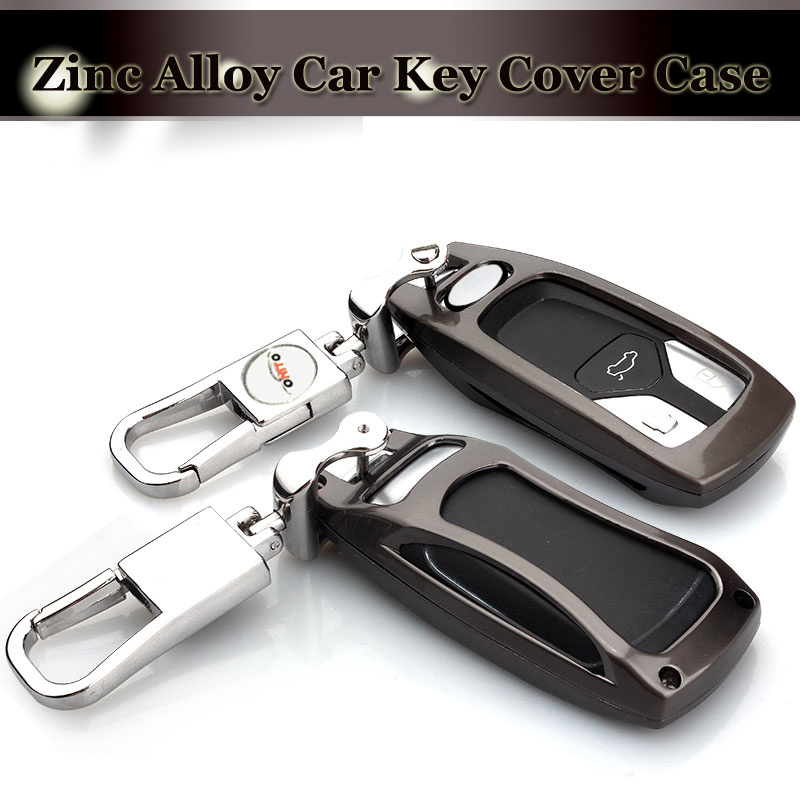 2017 Gris couvre 3D En Métal clé de voiture cas Chaînes clé sac clé cas couvre Cas de Clé AUTOMATIQUE Pour AUDI A4L Q7 TT voiture logo accessoires