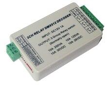 1 sztuk 3CH dmx512 kontroler led 3 kanałów DMX 512 wyjście przekaźnikowe dekoder przełącznik WS DMX RELAY 3CH