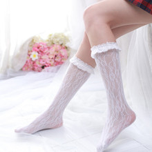 Fashion Women Socks Retro Calf Crus Shank Lovely Lace Sexy Unique Elastic