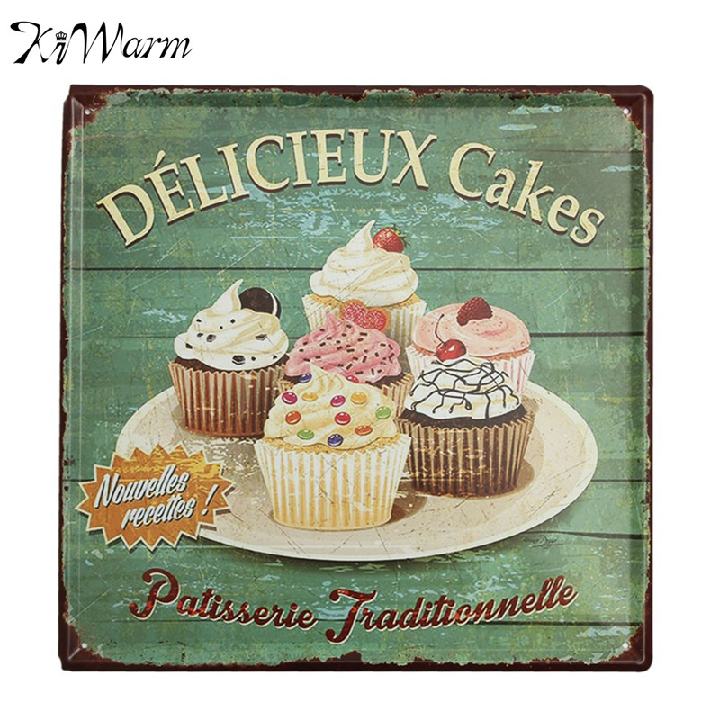 Delicieux cakes vintage metal tin sign bar pub home shop for Decoration retro cuisine