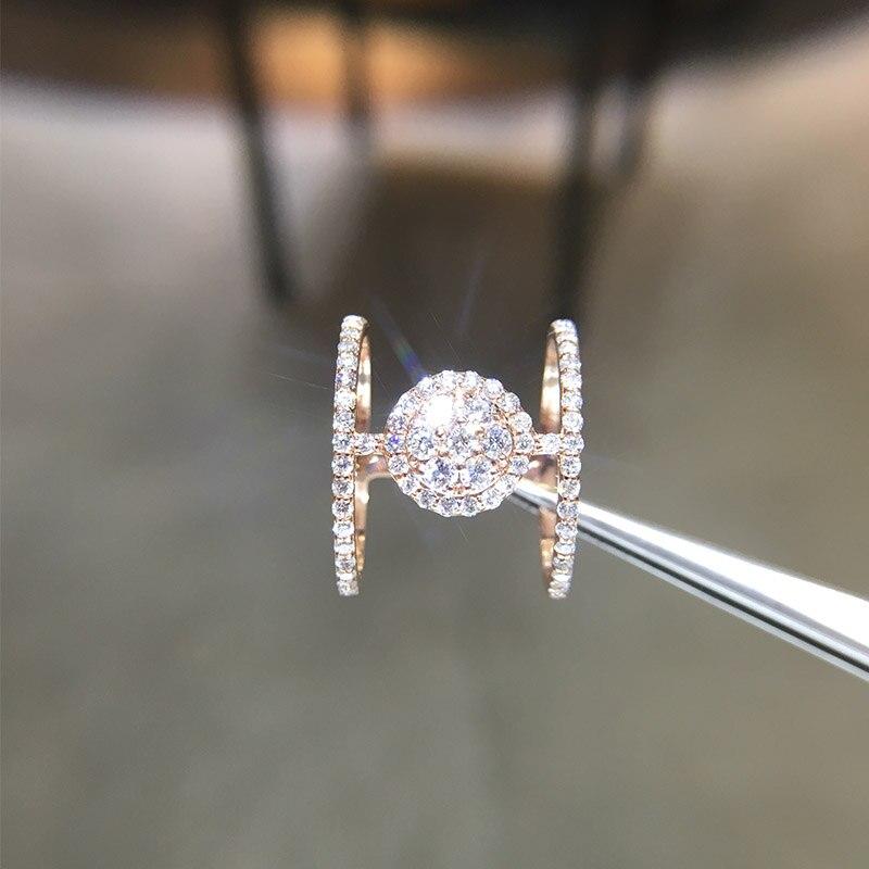 ANI 14 K or Rose (AU750) bagues de mariage pour femmes certifiées I-J/SI 0.92 CT taille ronde véritable diamant naturel bague Design de mode