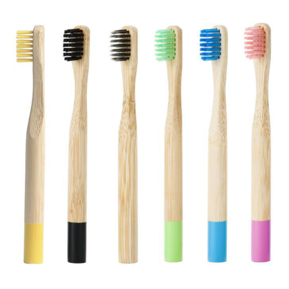 6pcs Pure Bamboo Charcoal Toothbrush Kids Oral Care Soft Bristles Wood Handle Rainbow Tooth Brushes Environmentally For Children