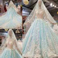 Sky Blue Ball Gown Long Sleeve Big Train Lace Flowers Pearls Beading Luxury Evening Dresses 2019 Prom Party Dress Gowns EV166