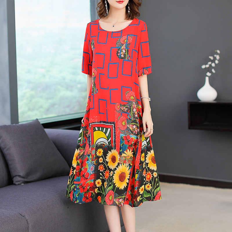 Ayunsue 2020 Zomer Zijden Jurk Voor Vrouwen Mode Gedrukt Rode Bloemen Jurk Casual Jurken Strand Kleding Vestidos De Festa KJ1848