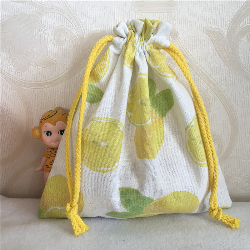 YILE Cotton Linen Drawstring Multi-purpose Organizer Pouch Wedding Birthday Party Gift Bag Print Lemon 8810a