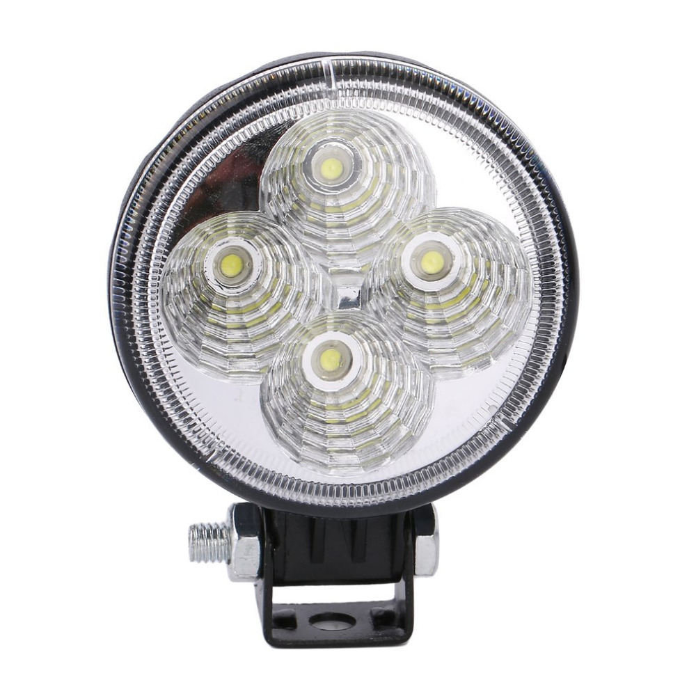 Universal Super Bright 4 LED 12W Round Car Light Waterproof Floodlight 60 Degrees Work Light Driving Fog Lamp Free Shipping ultrathin led flood light 200w ac85 265v waterproof ip65 floodlight spotlight outdoor lighting free shipping