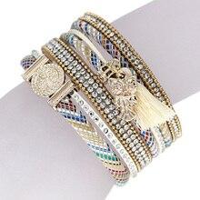 Woman's Pop Bracelets Multilayer Leather Velvet Inlay Rhinestone colorful Bangle Bracelet with Tassel Owl Pendant