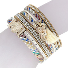 Women Bracelets Multilayer Velvet Inlay Rhinestone Colorful Bangle Bracelet with Tassel Owl Pendant