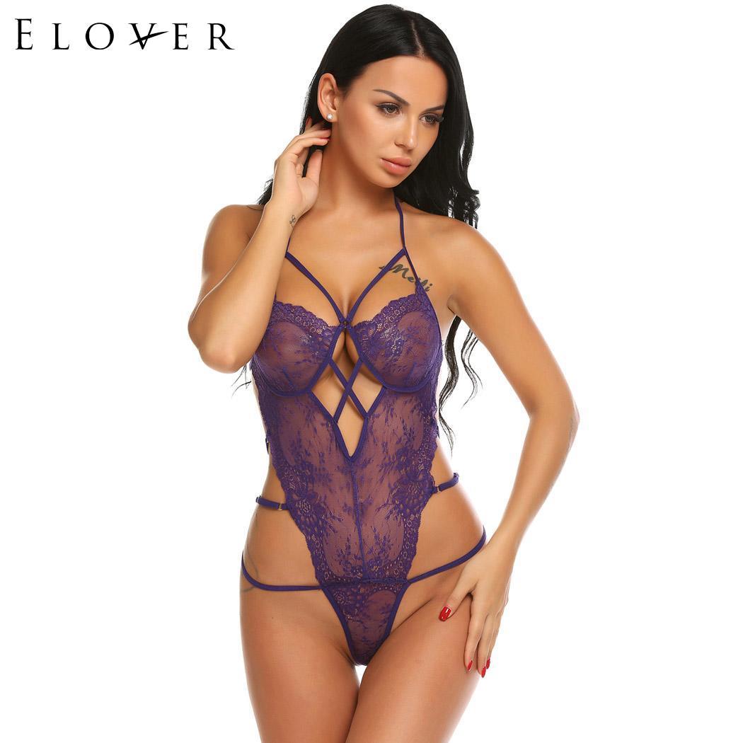 ELOVER Women One Piece Lingerie Lace Teddy Babydoll Sheer Mesh Bodysuit