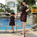 Лето Семья посмотрите Вишневый отпечатано мать дочь платья шифон мать и дочь одежда соответствия мать дочь одежда