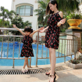 Summer Family look Cherry printed mother daughter dresses chiffon mother and daughter clothes matching mother daughter clothes