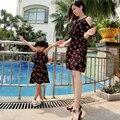 Verano de la Familia de aspecto Cereza impreso vestidos de gasa madre e hija madre hija juego de ropa madre e hija ropa