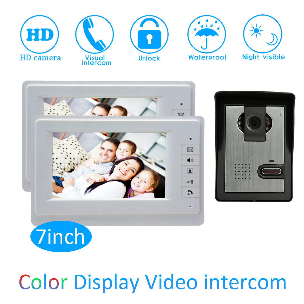 New Smart home Control 7 inch Display 1 to 2 Door Bell Wired Video Door Phone System HD waterproof camera Night version house 7 inch password id card video door phone home access control system wired video intercome door bell